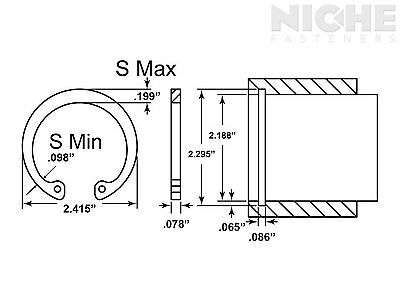 Housing Retaining Ring Internal 2-3/16 Stainless Steel (2 Pieces)