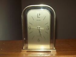 SEIKO Quartz Mantle Shelf Desk Table Clock Arch Gold Brass Japan Vintage Rare EX