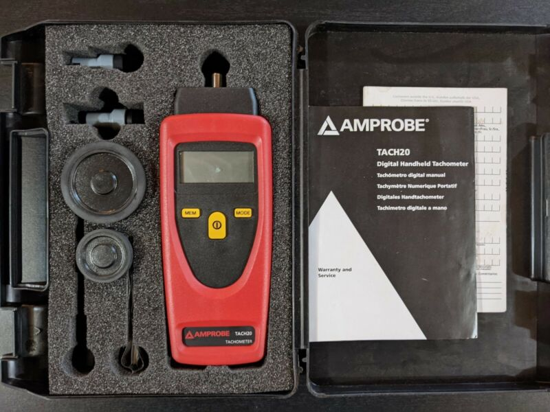 Amprobe Tach20 Combination Handheld Tachometer Contact and Non-Contact w/ Acc.