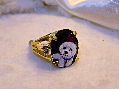 hand painted Bichon Frise on   ring with rhinestones sz 8