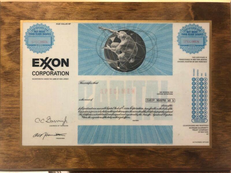 Laminated on Wood Plaque - Exxon Corp. Specimen Stock Certificate