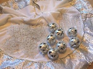 Christmas decorations. Silver and sparkle balls ect