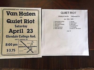 Quiet Riot Concert Ad Copy + Free Cd Hollywood CA 1979 Randy Rhoads