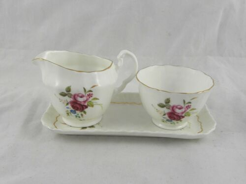 Vintage Royal Adderley Bone China Floral Roses Creamer & Sugar Bowl With Tray