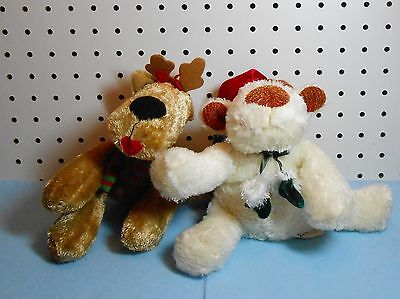 FLOPPY BROWN GIRL REINDEER & BEIGE REINDER STUFFED ANIMALS - SET OF 2