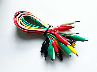 10 Pcs.- 5 Colors Test Lead Alligator Clip Set Ac-10 With 20.5 Length Wires