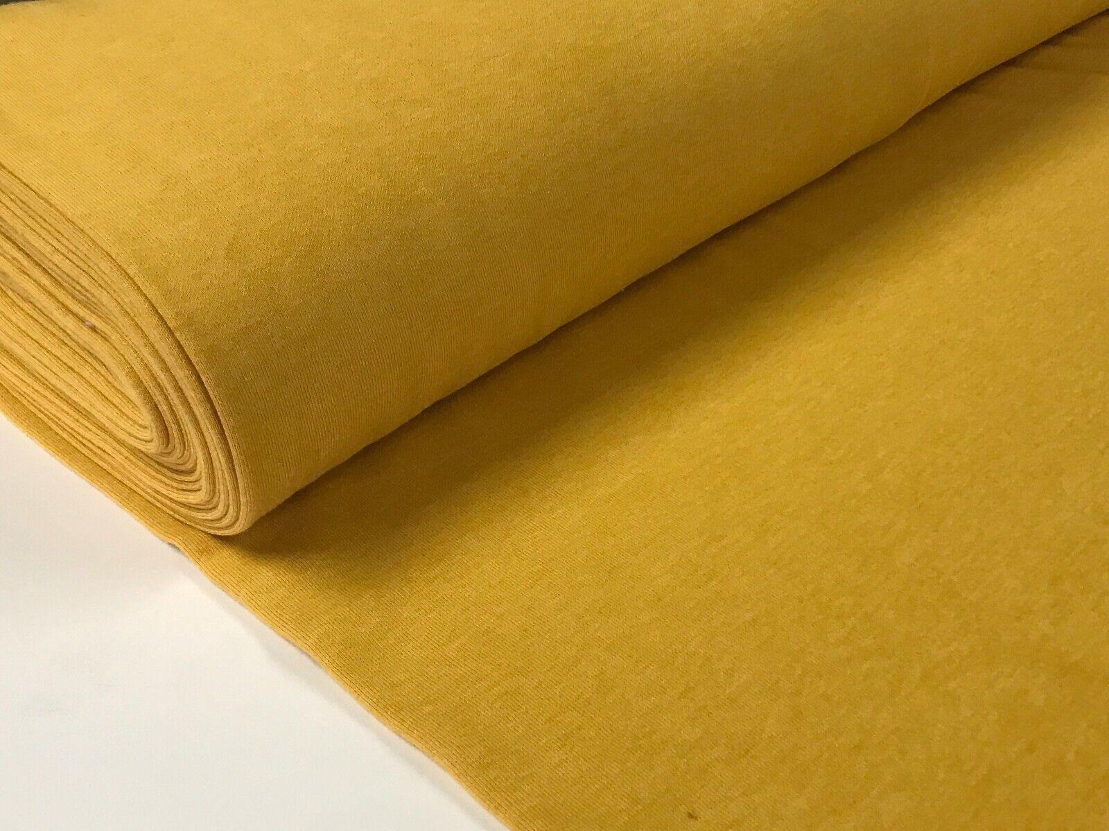 Sweatstoff meliert uni viele Farben METERWARE ÖKOTEX angeraut 140 cm breit Gelb