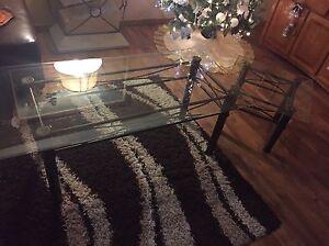 Glass coffe table set