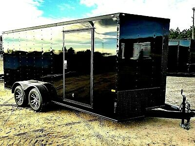 7'x16' Enclosed Trailer Cargo BLACKOUT ATV Motorcycle Utility Trailers BLACK OUT