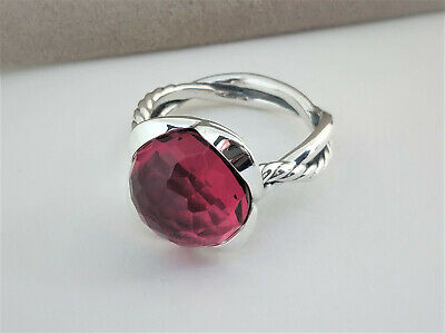 DAVID YURMAN STERLING SILVER  14mm Pink Tourmaline Continuance Ring SIZE 8.25