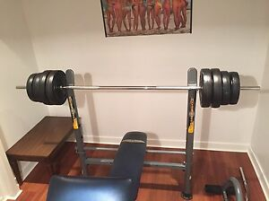 Competitor bench, curl bar and 110 lbs