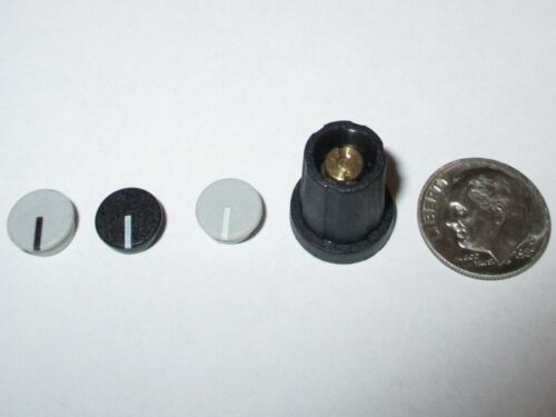 """1/8"""" SHAFT COLLET KNOBS W/CAP & NUT COVER  11 MM  SIFAM/SELCO  SN110-125  BLACK"""