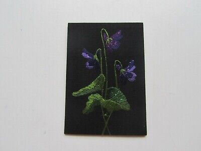 ACEO – First Violets – Original Hand Embroidery, Alexandra Lobban