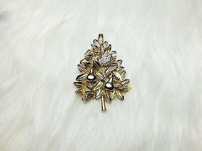 Vintage Partridge in a Pear Tree Christmas Brooch