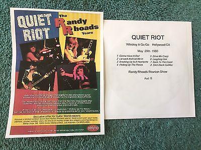 Quiet Riot Mini Ad Copy + Free Cd Hollywood CA 1980 Randy Rhoads Reunion