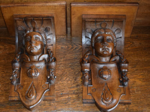 Pair Antique English Hand Carved Figural Wall Brackets Shelves Jacobean Gothic