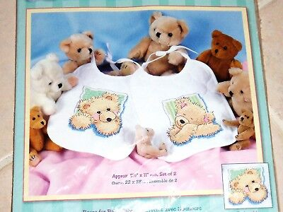 2 STAMPED CROSS STITCH TEDDY BEARS BIBS EMBROIDERY KIT FROM  DIMENSIONS  Cross Stitch Embroidery Kits