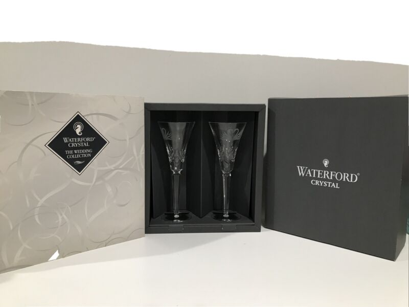 SET of 2 Waterford Crystal Wedding Collection Swan Toasting Champagne Flutes NEW