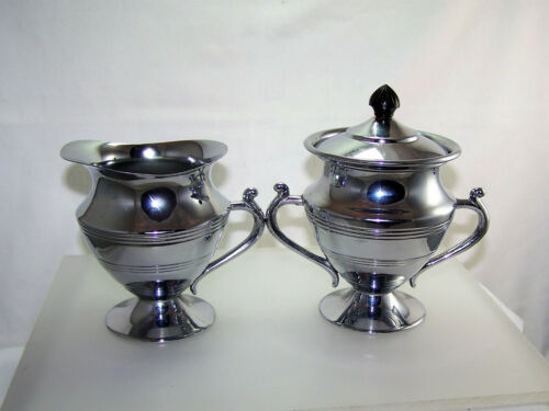 Chrome & Bakelite Creamer & Covered Sugar Bowl Art Deco 1930s Fabulous!