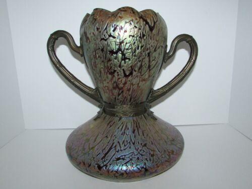 Antique Bohemian Jugendstil Kralik Bacillus Bronze Mounted Art Glass Vase 798