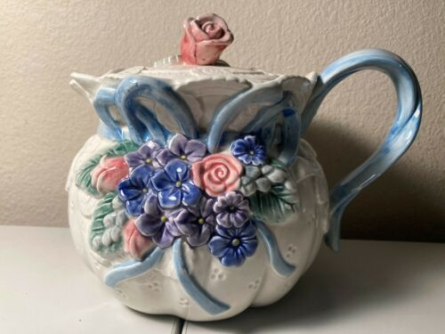 1993 Fitz And Floyd 35 oz TEAPOT Victorian Lace Pink Roses, Blue Flowers