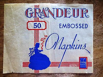 1930s Grandeur Embossed Napkins Product Packaging Erving Papers Wrapper (Napkin Wrappers)