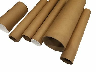 Kraft Mailing Shipping Tubes W End Caps - 6 Pieces 3 Wide X 6 Length
