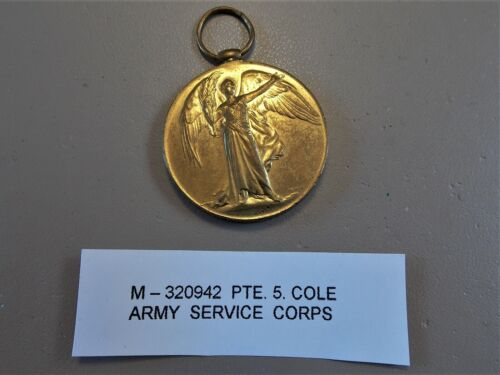 WW1 British Army Victory Medal Pte. S. COLES ARMY SEVICE CORPS
