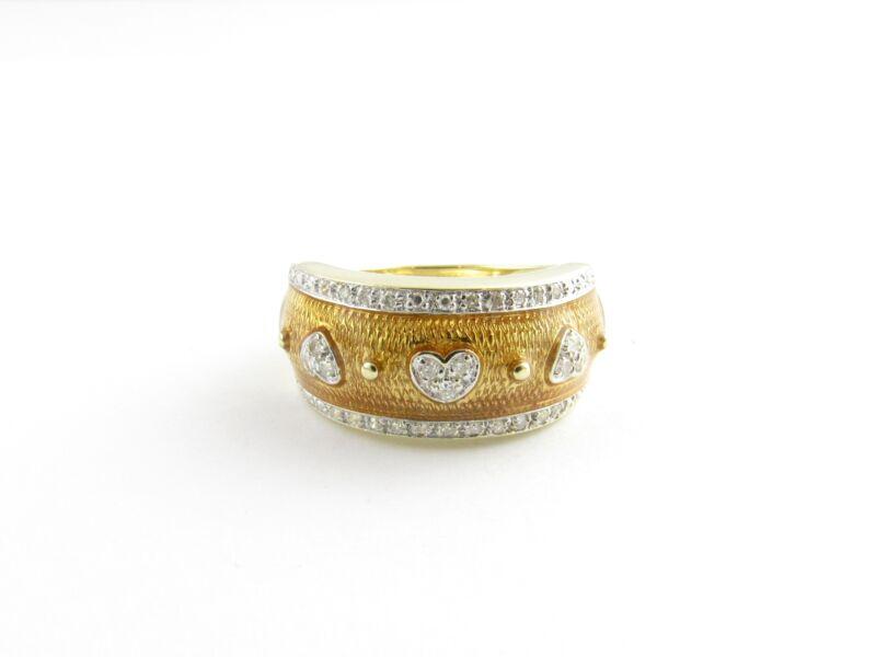 Vintage 14 Karat Yellow Gold Enamel and Diamond Ring Size 7.75 #5806