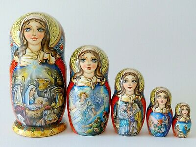 "Nesting Doll ""Nativity"" Set of 5 (Russian Collection Sacramento) Sale!"