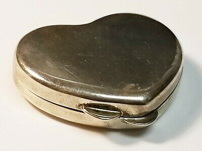 "Vintage Tiffany & Co Heart Shape 925 Sterling Silver 1.5"" Pill Box 23g RARE!"