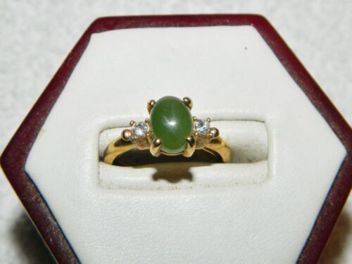 Avon Goldtone Green Center Stone  & Clear Costume Ring Size 5 Adjustable