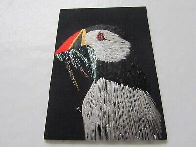 ACEO – Puffins and Fishes – Original Silk Hand Embroidery, Alexandra Lobban