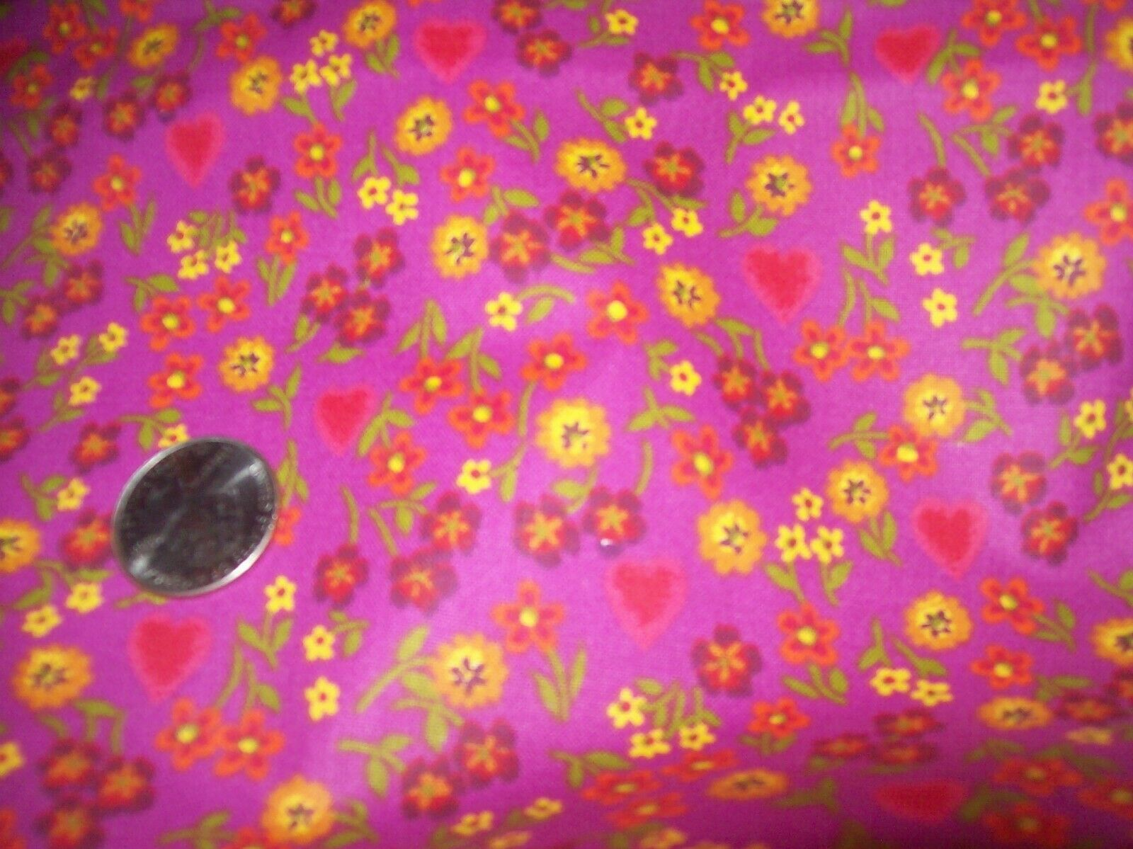 Dark Pink Fabric With Red. Yellow, Orange Flowers, Hearts, 27 Inches, 44 Wide - $1.99