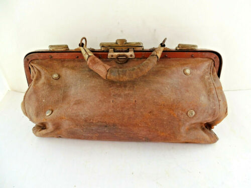 ANTIQUE VINTAGE LEATHER DOCTOR BAG MEDICAL BAG