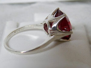 10ct 13mm red ruby 925 sterling silver ring size 6 USA made