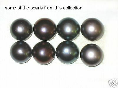 10 cultured pearls peacock black 9mm lot 1/2 drilled