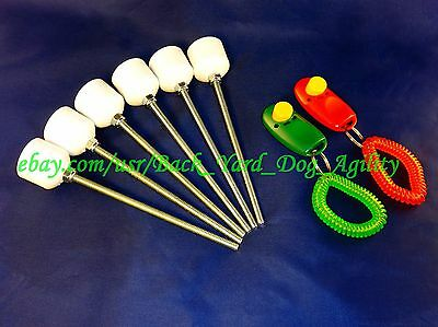 6 Weave Pole Pegs / 2 Dog Clickers Agility Equipment, You Cut Poles, Xmas
