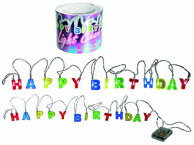6 LED lights, Happy Birthday, 3 x AA Batteries, in a PVC Box, approx. 2.3 M (Happy Birthday In Lights)