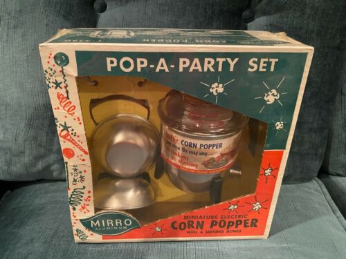 Pop-a-Party Miniature Electric Corn Popper and 4 Serving Bowls