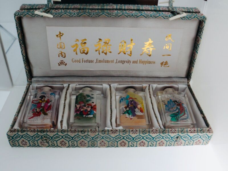 Crystal hand painted set of 4 snuff bottles, Chinese