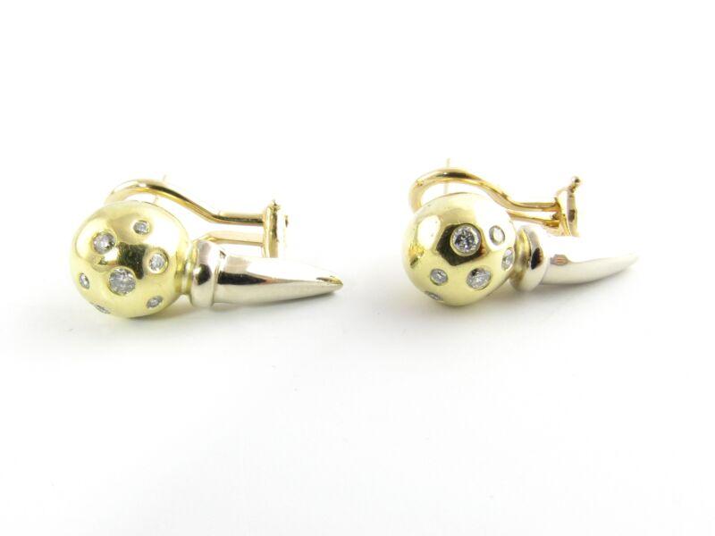 Vintage 18 Karat Yellow and White Gold Diamond Earrings #5571