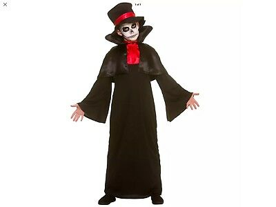Childs Size 11/13 Deluxe Grim Reaper Costume Fancy Dress Outfit FREE FACE PAINT (Halloween Grim Reaper Face Painting)