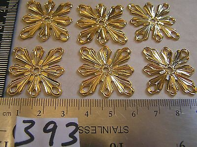 6 Vtg 33mm 8 way Detail Flower Center square Connector Bracelet Jewelry Findings