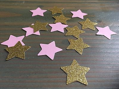 150 Twinkle Little Star Pink And Gold Glitter Paper Punches, Confetti, Scatter