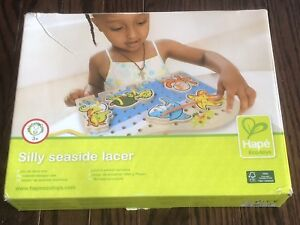 HAPE Eco-Toys Silly Seaside Wooden Lacer Activity Set