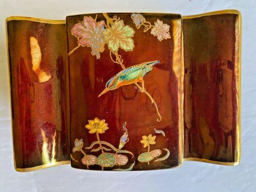 Carlton Ware Mid Century Cigarette Box Opalescent colors Inside Pearl Motif Gilt