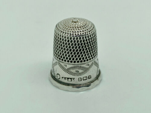 Antique James Swann & Son 1934 English Sterling Silver Thimble Size 9