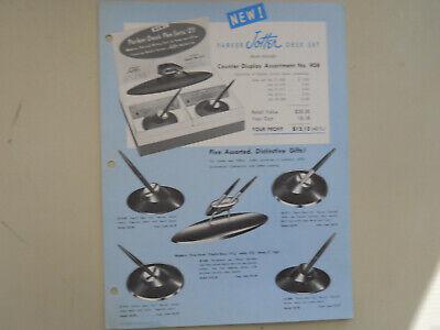 Parker Vintage l956 Jotter Desk Set Display Sheet---1956