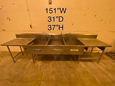 Stainless Steel Cafeteria Prep Station With 3 Sinks.